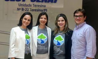 Da esquerda para direita, Supervisora CRNE-I, Fernanda Barreira, Dirigente do SEST SENAT Teresina, Germana Mapurunga, Superintedente FETRANS, Amanda Machado e Dirigente do SEST SENAT Picos, Rodrigo Saburido.
